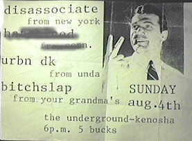 Disassociate Wisconsin 1996 flyer